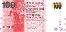 Hong-Kong 100 Dollars, Licorne - Circuit imprimé et tablette sung - 2014