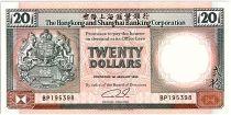 Hong-Kong 20 Dollars,  Armoiries - Lions  - 1990 - P.197 a
