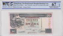 Hong-Kong 20 Dollars,  Banque de Hongkong et Shanghai - 2002 - PCGS 67 OPQ