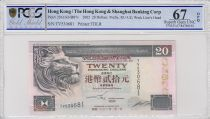 Hong Kong 20 Dollars, The Hongkong and Shanghai Banking Corporation Limited - 2002 - PCGS 67 OPQ