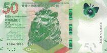 Hong-Kong 50 Dollars, Tête de Lion - Papillon - 2018 (2020) - Neuf