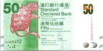 Hong-Kong 50 Dollars, Tortue - Fermeture à combinaison chinoise - 2016 (2017)