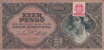 Hongrie 1000 Pengö 1945 - Portrait de femme - Timbre adhésif MNB - TB séries variées