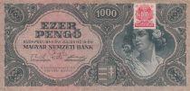 Hongrie 1000 Pengö 1945 - Portrait de femme - Timbre adhésif MNB 2ème ex