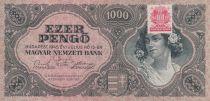 Hongrie 1000 Pengö 1945 - Portrait de femme - Timbre adhésif MNB