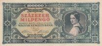 Hongrie 100000 Milpengö 1946 - Jeune femme, Armoiries