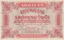 Hongrie 1000000 Adopengö 1946 - Rouge orangé