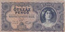 Hongrie 500 Pengö Portrait de femme - 1945 - TB - séries variées