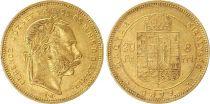 Hongrie 8 Florins / 20 Francs François Joseph I - Armoiries Or - 1879 KB