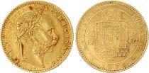 Hongrie 8 Florins / 20 Francs François Joseph I - Armoiries Or - 1883 KB