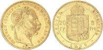 Hongrie 8 Florins / 20 Francs François Joseph I - Armoiries Or - 1888 KB