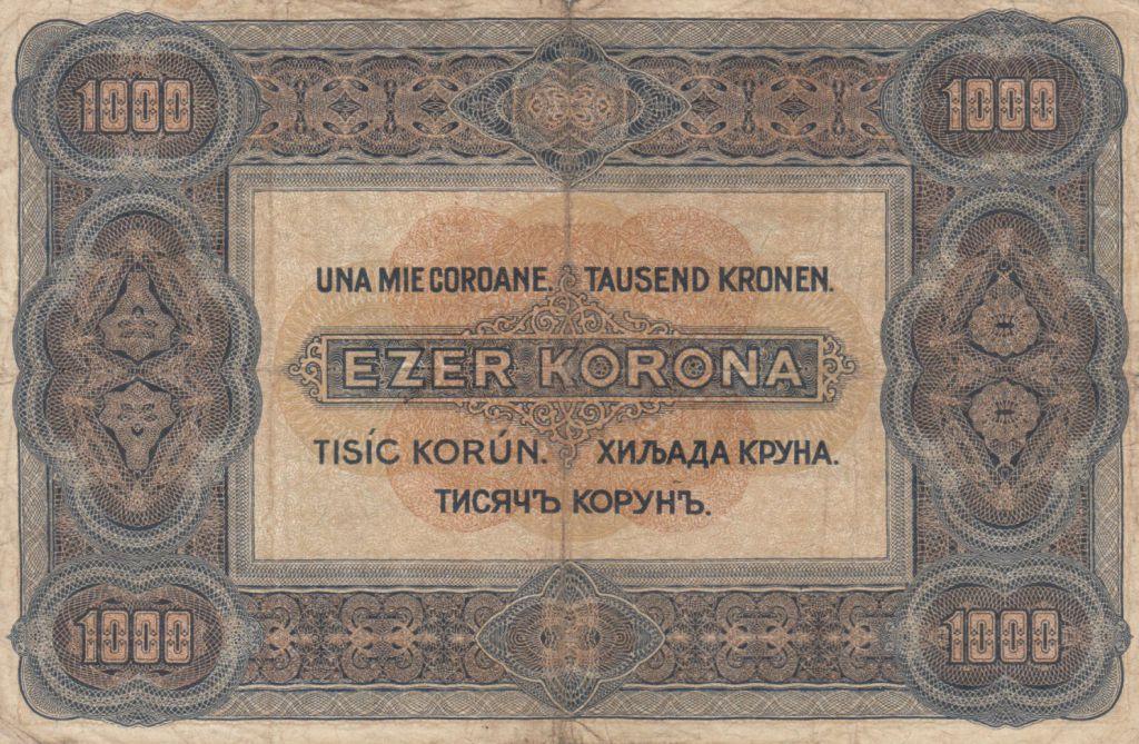 Hungary 1000 Korona St Stephan - 1920 - Fine - P.66a Serial B.4