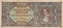 Hungary 100000 Milpengö 1946 - Young woman, Coat of arms