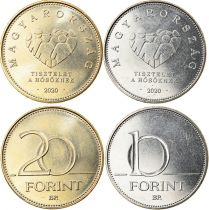 Hungary Set incluing 10 and 20 Forint - Honoring Carevivers - 2020 - AU