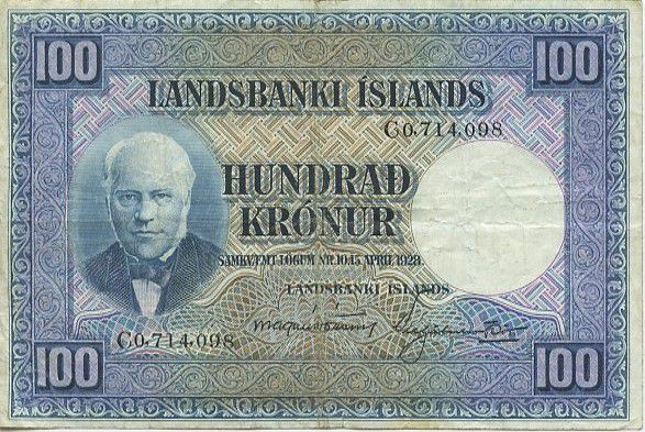 Iceland 100 Kronur J. Sigurdsson - Flock of sheep