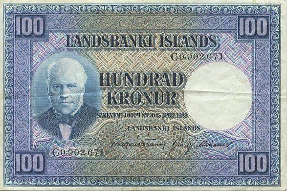 Iceland 100 Kronur J. Sigurdsson - Flock of sheep