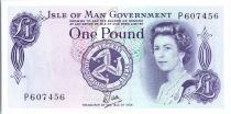 Ile de man 1 Pound  Elisabeth II - Vue de Tynwald  - 1979 série P
