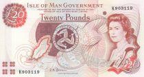 Ile de man 20 Pounds Elisabeth II - P.45b - Neuf - Préfix K