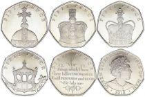 Ile de man Série 5 x 50 Pence Elisabeth II - 2018 Sapphire Coronation