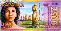Ile de Pâques 2500 Rongo, billet fantaisie Statues - 2011