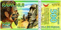 Ile de Pâques 500 Rongo, billet fantaisie Sculpteur - Statue - 2012