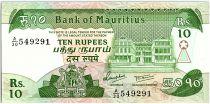Ile Maurice 10 Rupees,  Parlement, - Pont - 1985 - P.35