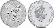 Ile Niue 2 Dollars Elisabeth II - 1 Once Argent Mickey Disney 2017