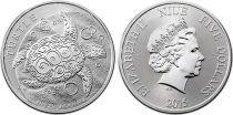 Ile Niue 5 Dollars Elisabeth II - 2 Onces Argent Tortue 2015