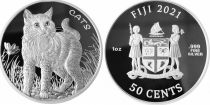 Ile Niue 50 Cents - Chat - 1 Once Argent 2021