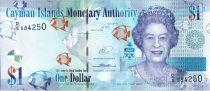 Iles Caïman 1 Dollar Elisabeth II - Poissons - Paysage - 2014 (2015)