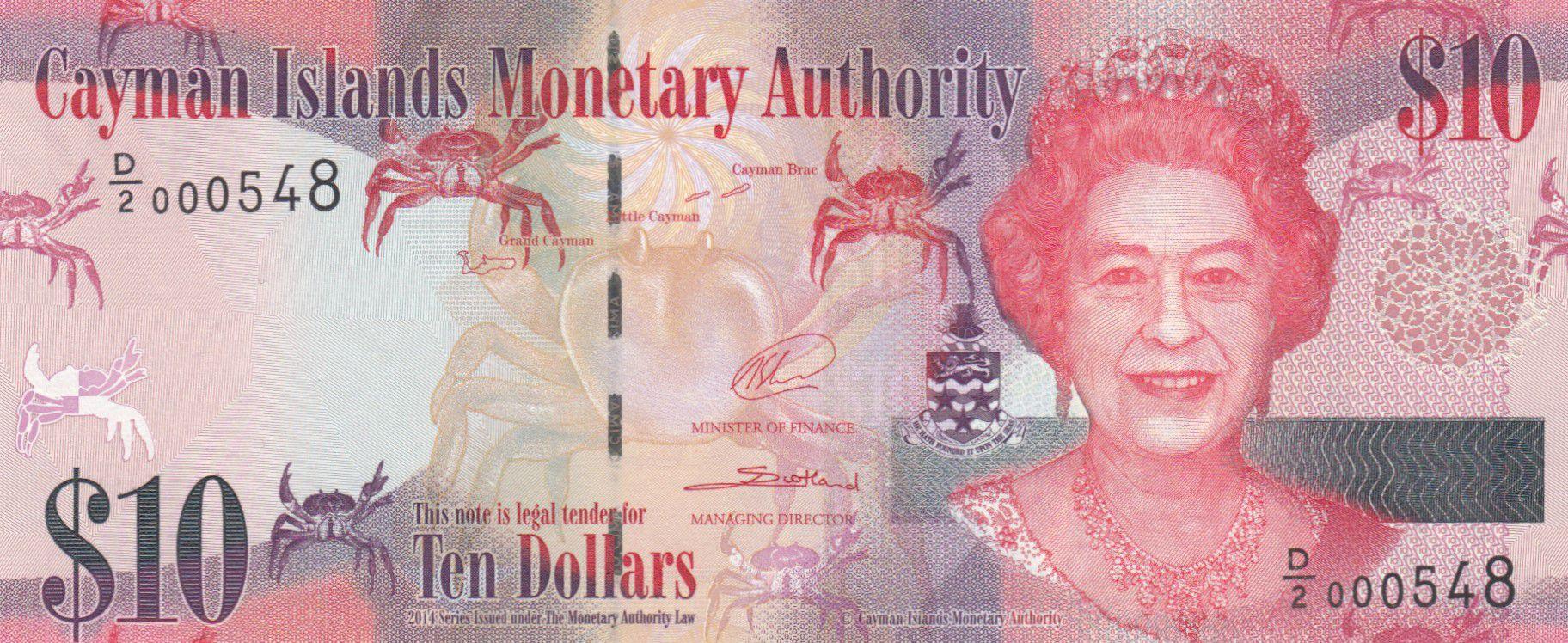 Iles Caïman 10 Dollars Elisabeth II et crabes - Fleurs - 2014 (2018) - Série D/2 - Neuf