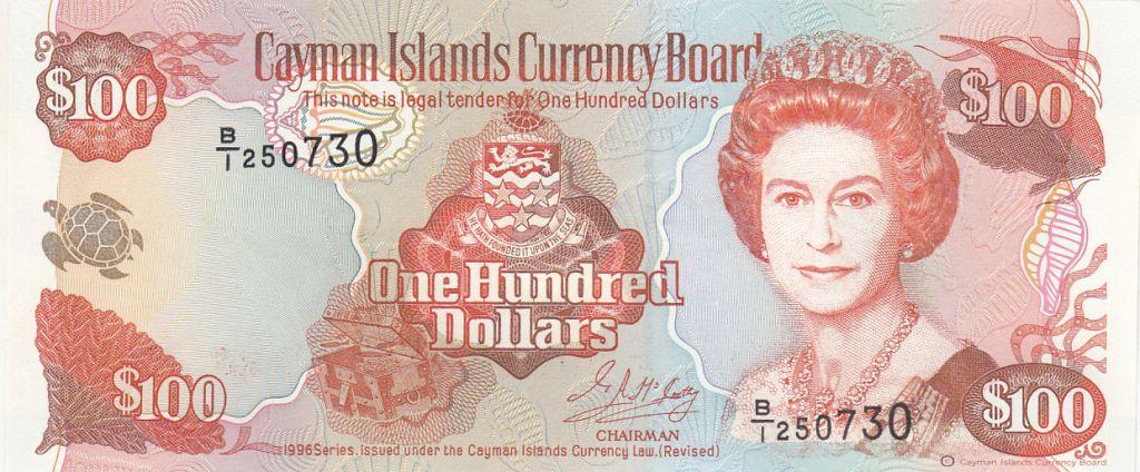 Iles Caïman 100 Dollars 1996 -  Elisabeth II, Port - Série B1