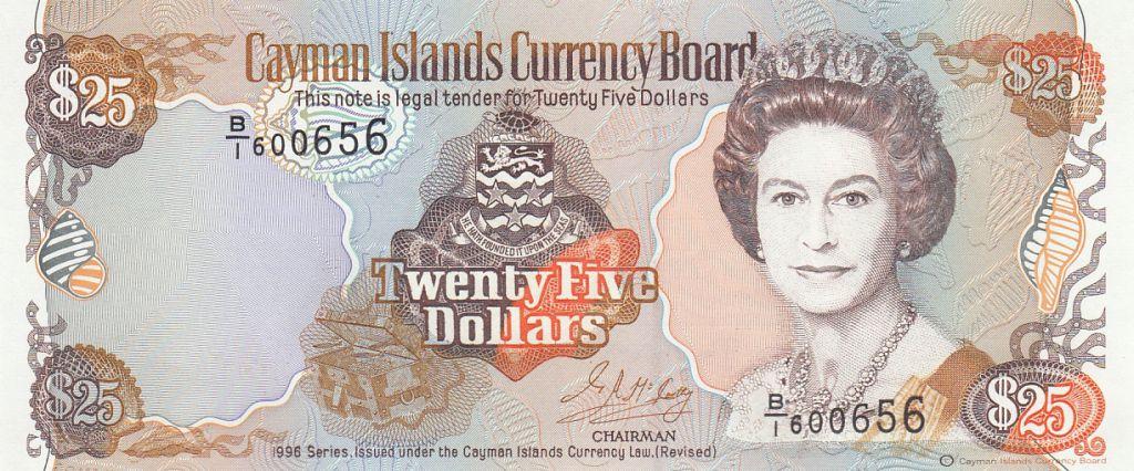 Iles Caïman 25 Dollars 1996 -  Elisabeth II, Carte des îles - Série B1