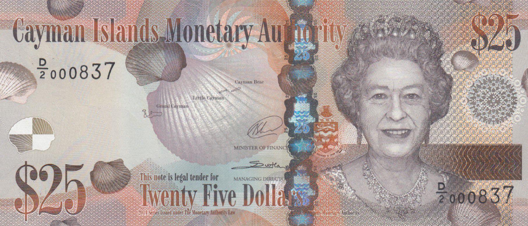 Iles Caïman 25 Dollars Elisabeth II - Tortue - 2014 (2018) - Série D/2 - Neuf