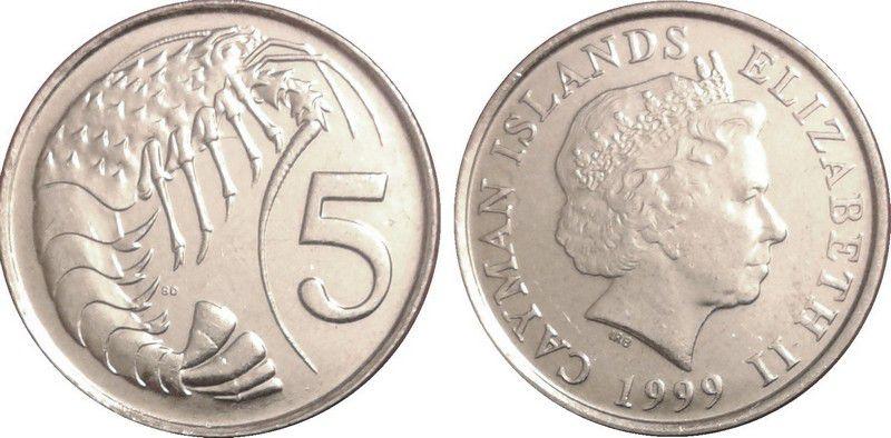 Iles Caïman 5 Cent Elisabeth II - Langouste années variées 1999-2008