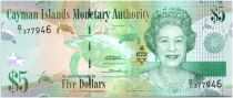 Iles Caïman 5 Dollars Elisabeth II, tortues - Perroquets - 2010