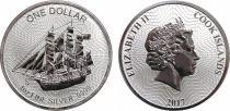 Iles Cook 1 Dollar Voilier - Elisabeth II - 1 Once Argent 2017