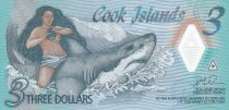 Iles Cook 3 Dollars Ina - Requin - Polymer - 2021 - Neuf