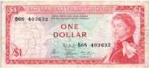 Iles des Caraïbes 1 Dollar Elisabeth II - Plage, cocotier - 1965  - B68