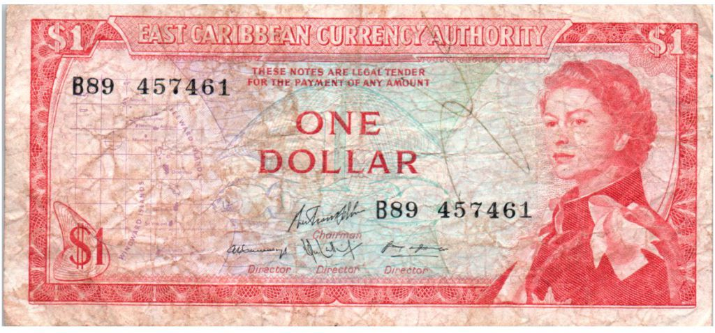 Iles des Caraïbes 1 Dollar Elisabeth II - Plage, cocotier - 1965  - B89