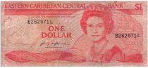 Iles des Caraïbes 1 Dollar Elisabeth II - Plage, cocotier - 1988-1989 - Suffixe L