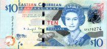 Iles des Caraïbes 10 Dollars Elisabeth II - Bateau Warship, St Vincent - 2016