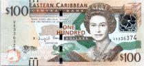 Iles des Caraïbes 100 Dollars Elisabeth II - Sir A. Lewis, Banque Centrale - 2016