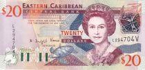Iles des Caraïbes 20 Dollars Elisabeth II - Gouv. à Monserrat