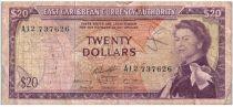 Iles des Caraïbes 20 Dollars Elisabeth II - Plage, cocotier - 1965  - A12