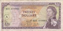 Iles des Caraïbes 20 Dollars Elisabeth II - Plage, cocotier