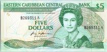 Iles des Caraïbes 5 Dollars Elisabeth II - Palmier - 1986