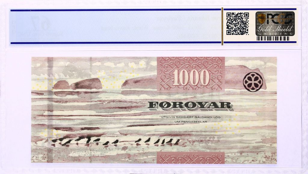 Iles Féroé 1000 Kronur, Oiseau - Vue de Sandoy - 2011 - PCGS 67 OPQ
