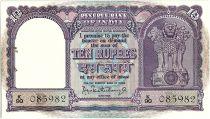 Inde 10 Rupees,  Colonne aux lions -  Boutre - 19(62-67) - P.40 b - K 90