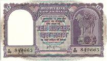 Inde 10 Rupees,  Colonne aux lions -  Boutre - 1962 - P.39 c - R 90